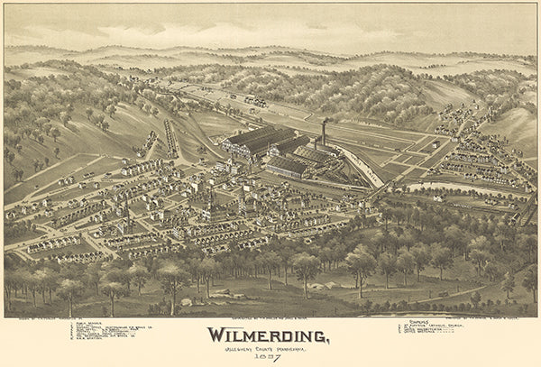 Wilmerding, Allegheny County, Pennsylvania - 1897 - Aerial Bird's Eye View Map Poster