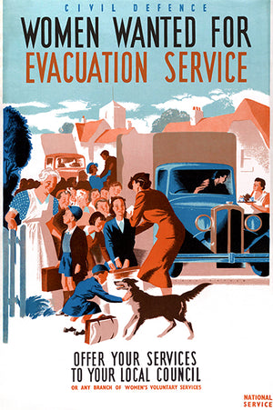Women Wanted For Evacuation Service - 1940's - World War II - Recruitment Magnet