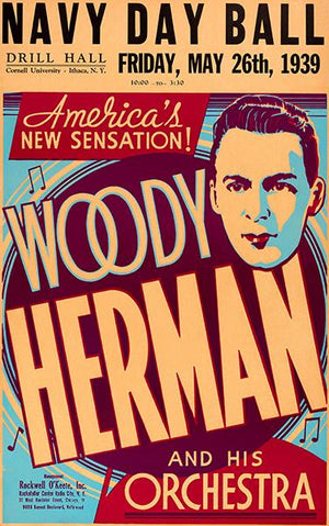 Woody Herman - 1939 - Navy Day Ball - Concert Poster Magnet
