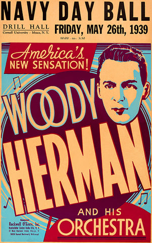 Woody Herman - 1939 - Navy Day Ball - Concert Poster
