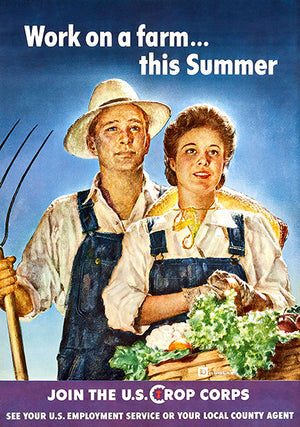 Work On Farm Summer - Crop Corps - 1943 - World War II - Propaganda Poster