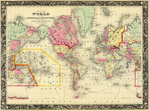 World On The Mercator Projection - 1860 - Map Poster