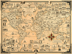 World Wonders & Seven Wonders Of The Ancient World - 1939 - Pictorial Map Poster