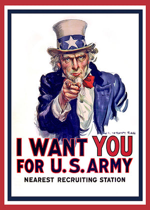 World War I - Uncle Sam - I Want You - Patriotic Poster