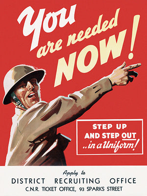 You Are Needed Now! - Step Up And Step Out In A Uniform! - 1940s - World War II - Propaganda Poster