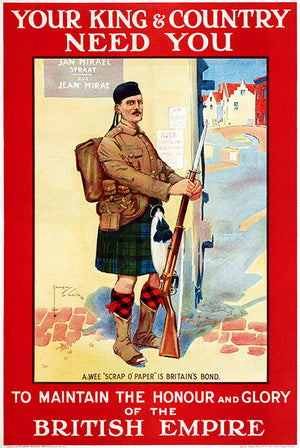 Your King & Country Need You - 1914 - World War I - British Recruitment Magnet