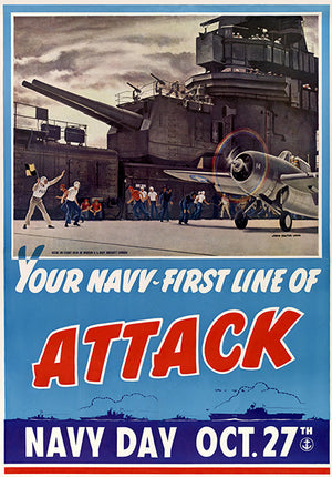 Your Navy - First Line Of Attack - 1942 - World War II - Propaganda Poster
