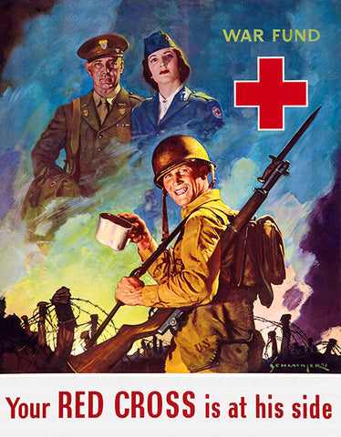 Your Red Cross Is At His Side - 1943 - World War II - Propaganda Poster