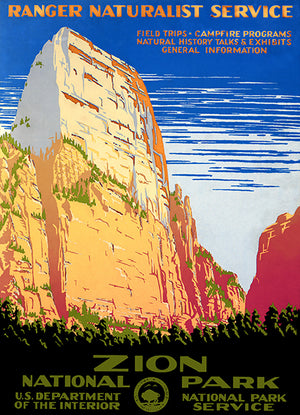 Zion National Park - 1938 - Travel Poster Magnet