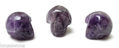 Miniature Mini 3 Skull Collection Real Amethyst Gemstone Hand Carved 331