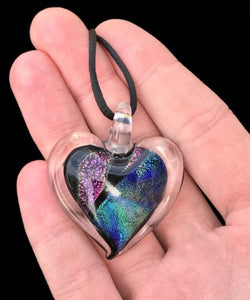 Dichroic Fused Glass Heart Pendant with Cord Mixed Colorful Rainbow Necklace A [HeartA2]