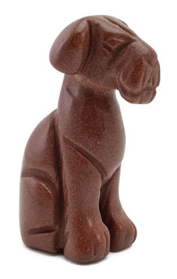 Dog Airedale Goldstone Hand Carved Gemstone Animal Totem Statue Stone Sculpture