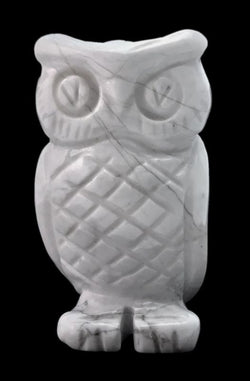 Owl White Howlite Hand Carved Gemstone Animal Totem Statue Stone Sculpture