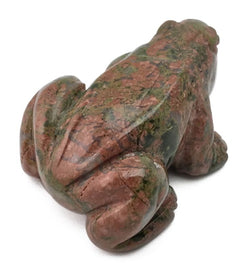 Frog Unakite Hand Carved Gemstone Animal Totem Statue Stone Sculpture