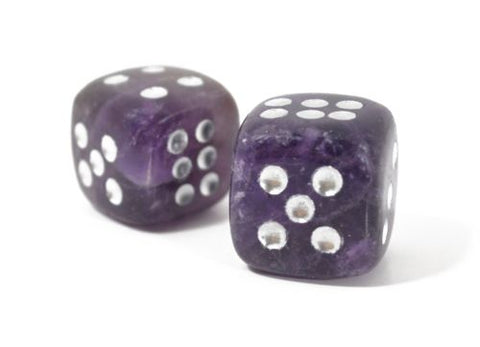 D6 Dice Pair Amethyst Crystal Gemstone Unique 6 sided Hand Carved Stone w Pouch