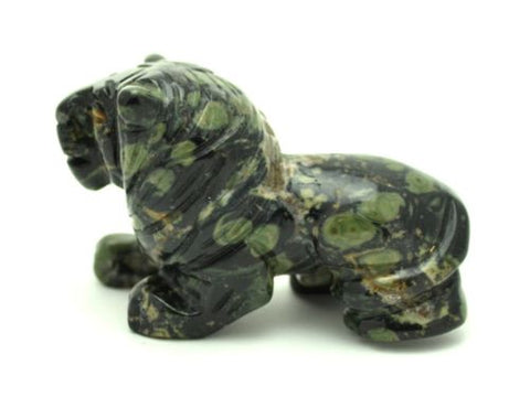 Lion Kambaba Jasper Hand Carved Gemstone Animal Totem Statue Stone Sculpture