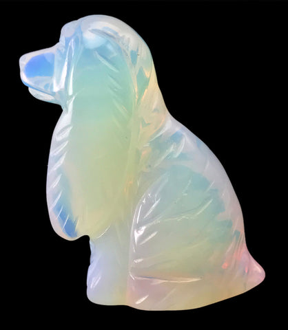 Cocker Spaniel Dog Opalite Hand Carved Gemstone Animal Totem Statue Stone
