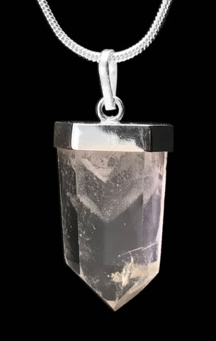 Phantom Clear Quartz Crystal Point 925 SS Sterling Silver Capped Pendant #3
