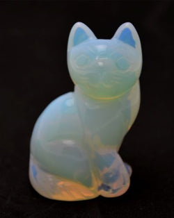 Sitting Cat Opalite Hand Carved Gemstone Animal Totem Statue Stone Sculpture