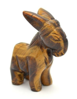 Donkey Tigers Eye Hand Carved Gemstone Animal Totem Statue Stone Sculpture
