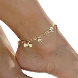 Golden Charm Anklet Dragonfly Rose Crystal Ankle Beach Summer Sand