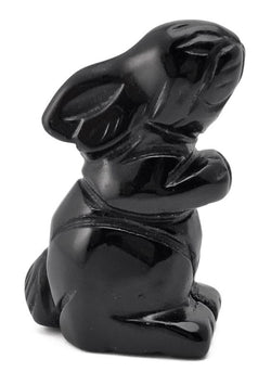 Sitting Rabbit Black Obsidian Hand Carved Gemstone Animal Totem Statue