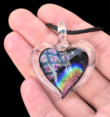 Dichroic Fused Glass Heart Pendant with Cord Mixed Colorful Rainbow Necklace A [HeartA6]