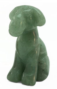 Airedale Dog Aventurine Hand Carved Gemstone Animal Tiny Totem Statue Stone
