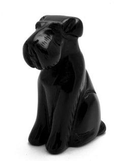 Airedale Dog Black Obsidian Hand Carved Gemstone Animal Totem Statue Stone
