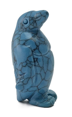 Penguin Turquoise Howlite Hand Carved Gemstone Animal Totem Statue Stone