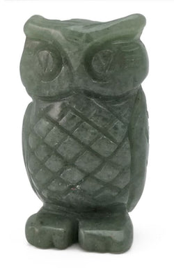 Owl Green Aventurine Hand Carved Gemstone Animal Totem Statue Stone Sculpture