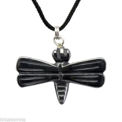 Dragonfly Hematite Gemstone Pendant Hand Carved Necklace