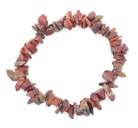 Gemstone Power Stretch Bracelet 22 Varieties Chip Stone Quartz Obsidian Jasper [Red Jasper]
