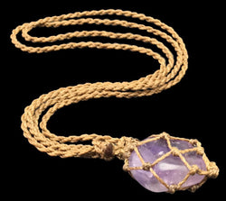 Macrame Necklace Custom Real Amethyst Authentic Collector Necklace 2AT