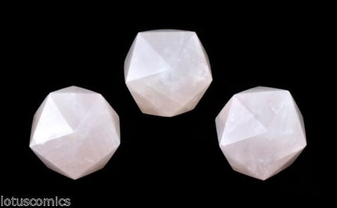 335ct 3 D20 Icosahedron Real Rose Quartz Gemstone Hand Carved 211