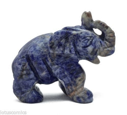 Elephant Blue Sodalite Hand Carved Gemstone Animal Totem Statue Stone Sculpture