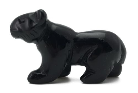 Black Obsidian Walking Panther Cat Hand Carved Gemstone Animal Totem Statue Gift