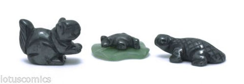 Miniature Squirrel Frog Lily Pad Lizard Collection Hematite 157 Hand Carved