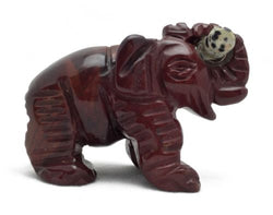Elephant Red Jasper with Dalmatian Jasper Log Hand Carved Gemstone Animal Totem