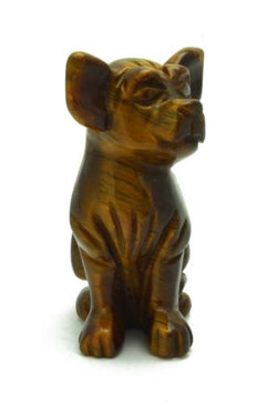Dog Chihuahua Tigers Eye Hand Carved Gemstone Animal Totem Statue Stone