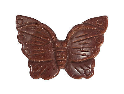 Butterfly Goldstone Hand Carved Gemstone Animal Totem Statue Stone Sculpture