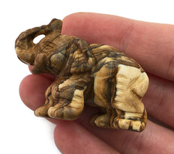 Elephant Picture Jasper Hand Carved Gemstone Animal Tiny Totem Statue Stone