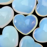 Lot of 3 Puffy Heart Opalite Pocket Sized Hand Carved Gemstone Love Totem