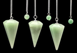 Lot of 3 Aventurine Pendulums Hand Carved Polished Gemstone Divination Dowsing
