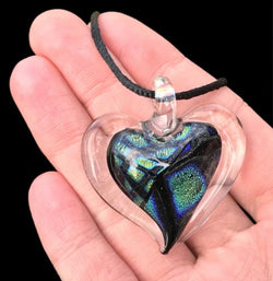Dichroic Fused Glass Heart Pendant with Cord Mixed Colorful Rainbow Necklace A [HeartA10]