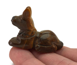 Anubis Tigers Eye Hand Carved Gemstone Tiny Totem Statue Stone Sculpture