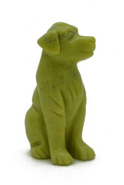 Dog Serpentine Hand Carved Gemstone Animal Totem Statue Stone Sculpture