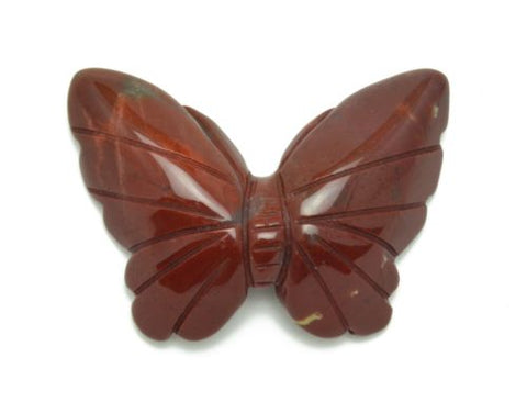 Butterfly Red Jasper Hand Carved Gemstone Animal Totem Statue Stone Sculpture