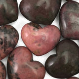 Lot of 3 Puffy Heart Pink Rhodonite Pocket Hand Carved Gemstone Love Stone