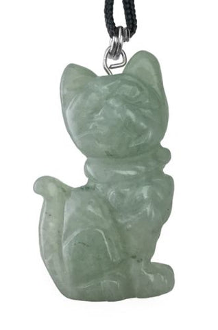 Aventurine Cat Pendant Hand Carved Gemstone Jewelry Necklace